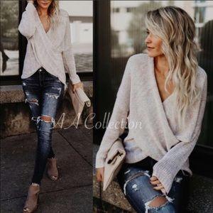 Sweaters - Sweater Criss Cross wrap knit top Oatmeal NeW